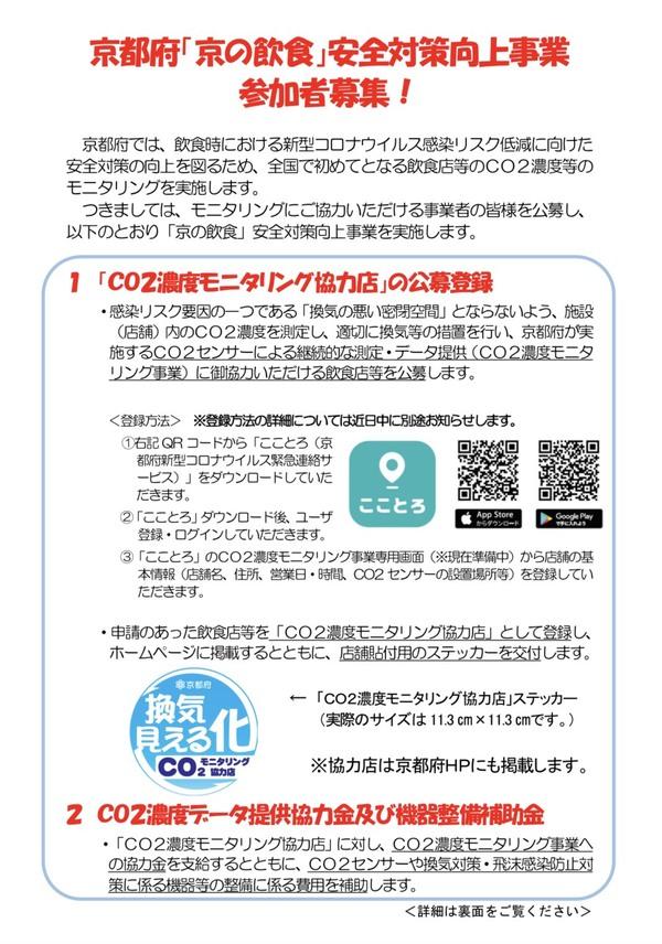 【補助金情報】京都府の飲食店経営者様へ!